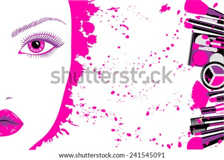 Face of beautiful woman with makeup stains cosmetics - stock vector