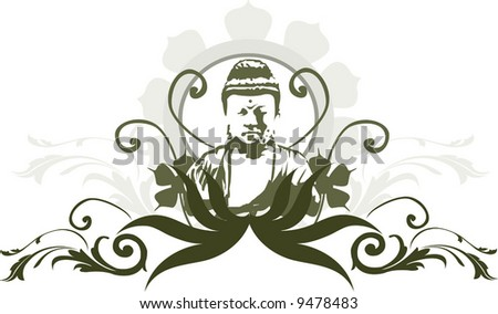 face of Buddha in floral background