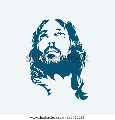 Face of Jesus - stock vector