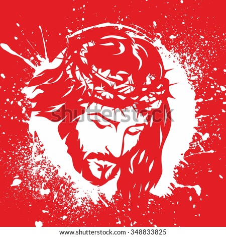 Face of Jesus Christ. Crown of thorns. Hand drawn. - stock vector