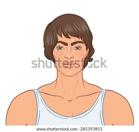 Face of young man. Vector illustration. - stock vector