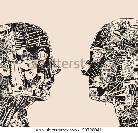 Face off. Dialogue. - stock vector
