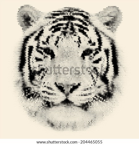 Face portrait of a white bengal tiger, isolated on grunge background. Amazing mask of the biggest cat. Wild beauty of the most dangerous, but cute and cuddly beast. Vector image, made of big dots. - stock vector