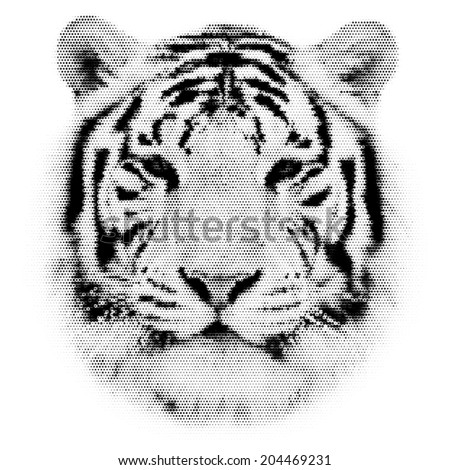 Face portrait of a white bengal tiger, isolated on white background. Amazing mask of the biggest cat. Wild beauty of the most dangerous, but cute and cuddly beast. Black and white dotted vector image. - stock vector