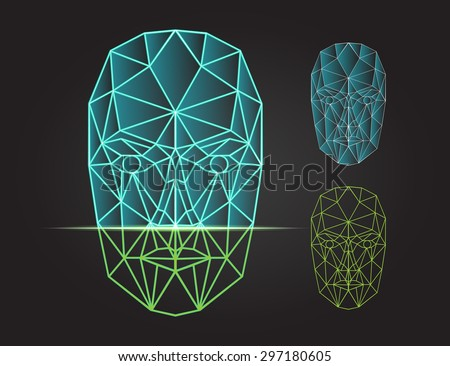 Face recognition - biometric security system. Face scanning, front view of human head. Vector illustration - stock vector