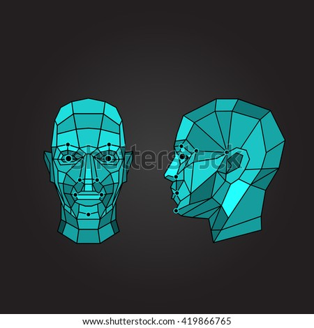 Face recognition - biometric security system. Face scanning, front view, side view of human head. Vector illustration - stock vector