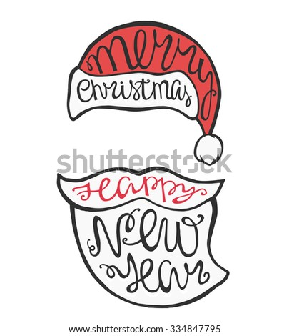 Face Santa Claus in hipster style and handdrawn lettering for greeting cards. Vector Christmas card.