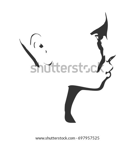face side view elegant silhouette of a female head vector illustration monochrome gamma