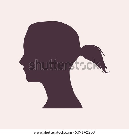 elegant silhouette of a female head vector illustration ponytails hair