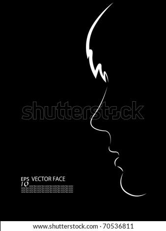 Face silhouette - stock vector