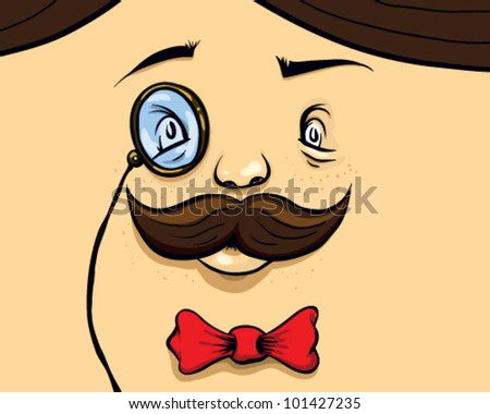 Face with Mustaches, monocle, and a bow tie - vector illustration.