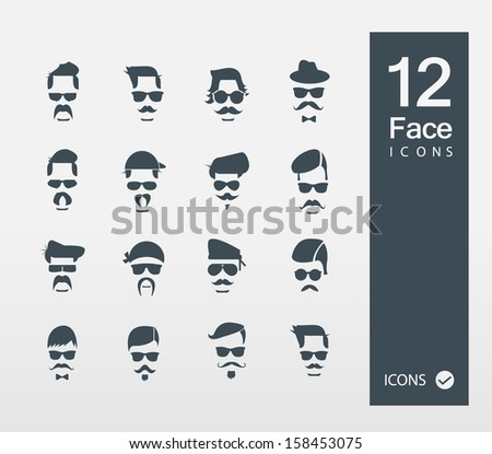 Face with Mustaches ( Set of 12 Quality icons ) - stock vector