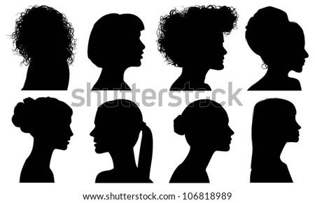 Face Woman Profile Vector Silhouette - stock vector