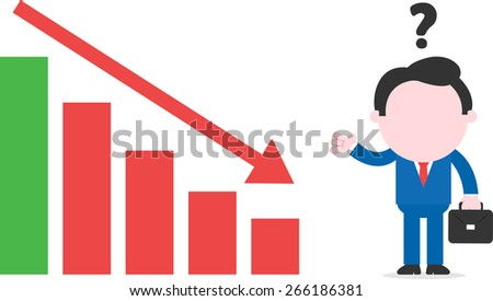 Faceless cartoon confused businessman with briefcase gesturing standing beside declining bar chart - stock vector