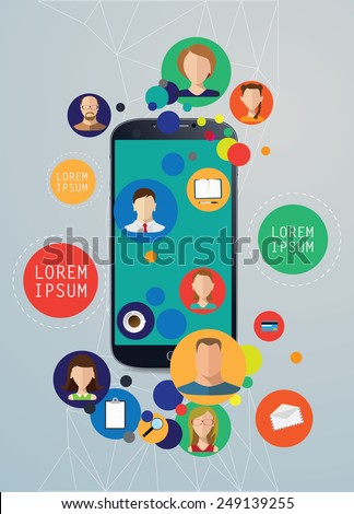 Faces and devices icons net in smartphone vector illustration. - stock vector