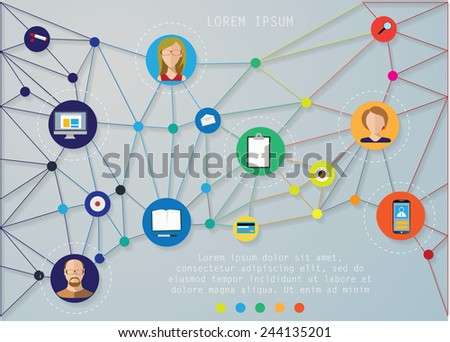 Faces and devices icons net symbols vector illustration. - stock vector