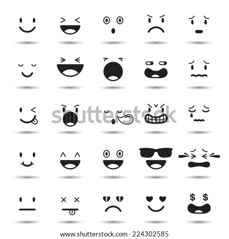 Faces Elements, Emotion - stock vector