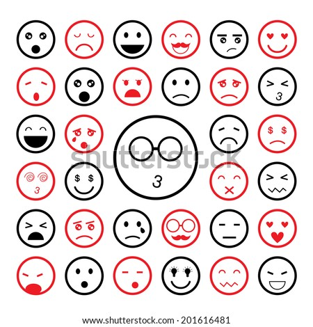 faces emoticon icons cartoon set    - stock vector