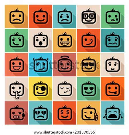 faces icon set - stock vector