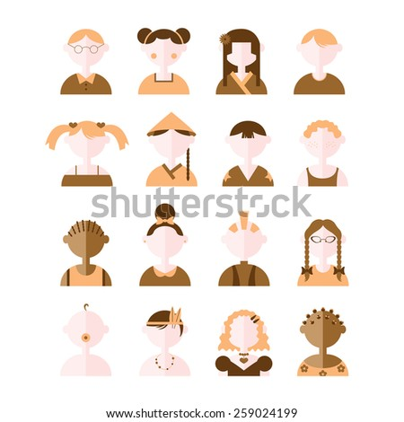 Faces illustration in modern style. Set of vector flat character icons. Portraits of children from different countries of the world in brown colors.  - stock vector