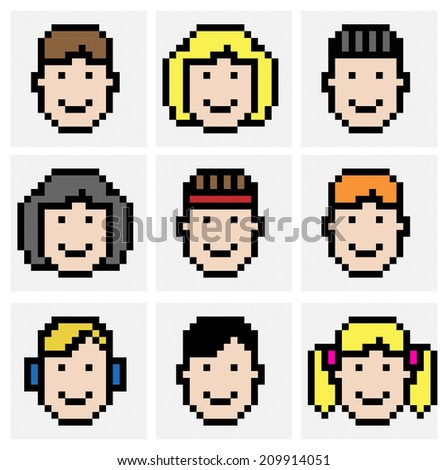 Faces in pixel art style