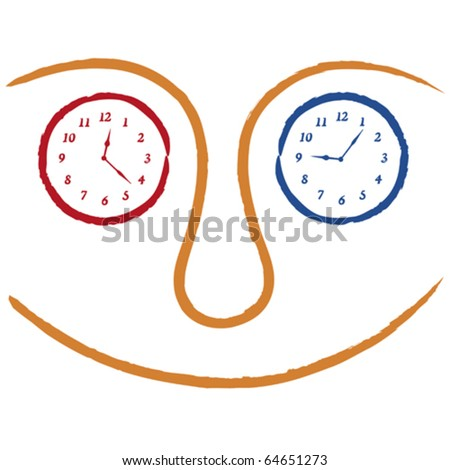 faces with clocks - stock vector