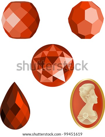 Faceted Coral Crystal Beads, four faceted vector beads and a cameo vector - stock vector