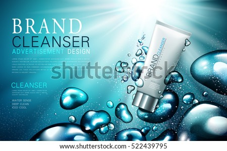 facial cleanser ad, contained in white tube, watery background, 3d illustration