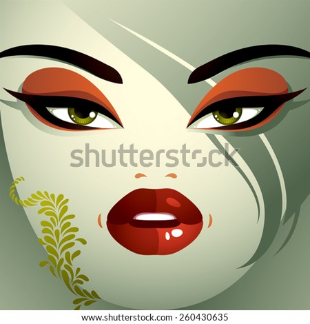 Facial emotions of a young pretty woman with a modern haircut. Coquette lady visage, expressive human eyes, lips and locks. - stock vector