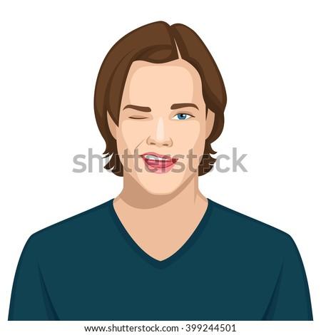 Facial expression: Flirt - stock vector