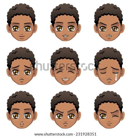 Facial expression of boy (African Descent) - stock vector