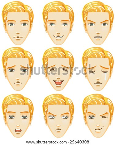 Facial expression of man (Caucasian Descent) - stock vector