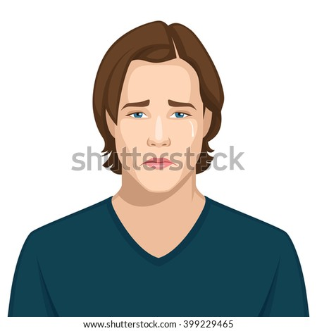 Facial expression: Sad, upset - stock vector