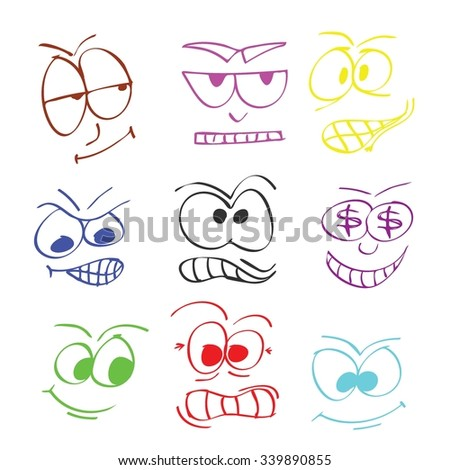facial expressions - stock vector
