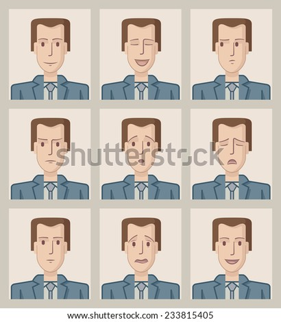 Facial expressions of a businessman. Flat. Nine drawings of a businessman with different facial expressions. EPS8 file. - stock vector