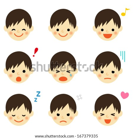 Facial expressions of boy. Vector EPS 10 illustration - stock vector