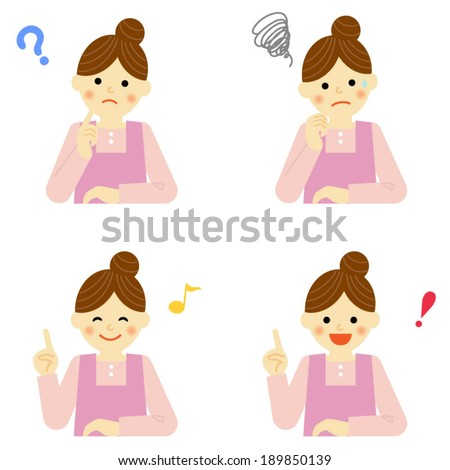 Facial expressions of woman / Vector EPS 10 illustration - stock vector