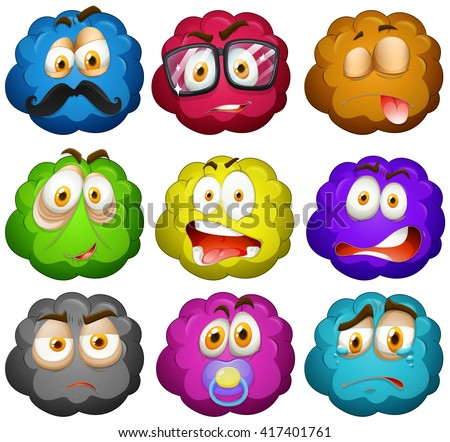 Facial expressions on fluffy balls illustration