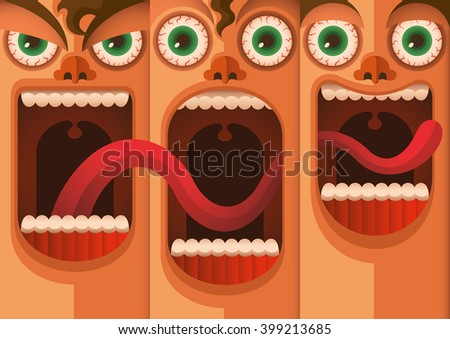 Facial expressions. Vector illustration. - stock vector