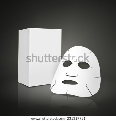 facial mask and blank package for cosmetics isolated on white background - stock vector