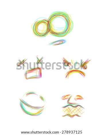 facial sketch smile surprise anger happiness - stock vector