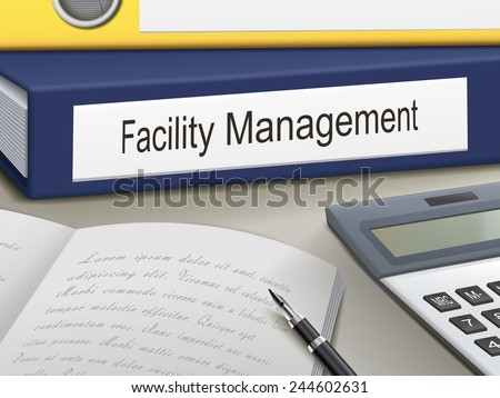 facility management binders isolated on the office table - stock vector