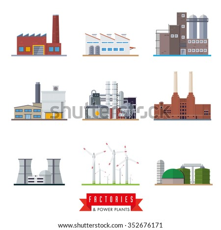 Factories and power plants vector icons. Set of nine flat design industrial buildings vector icons - stock vector