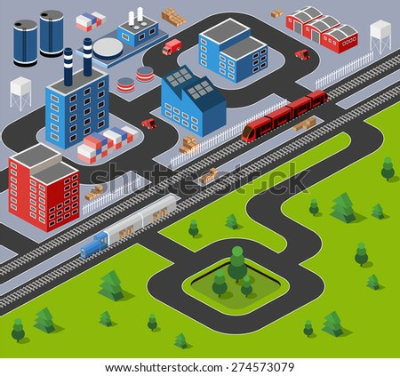 Factories, warehouses and office buildings in urban areas of large cities - stock vector