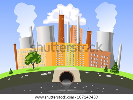 Factory air and water pollution - stock vector
