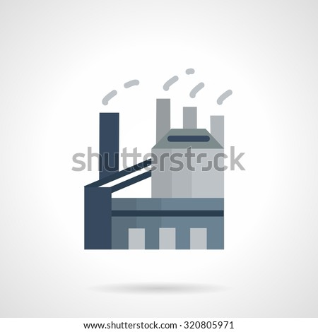 Factory and plant, industrial building with chimney. Flat style vector icon. Industrial architecture and structures. Elements of web design for business.  - stock vector