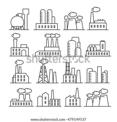 factory plant thin line vector icons stock vector