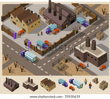 Factory area. Set of very detailed isometric vector - stock vector