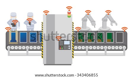 Factory automation and conveyor belt, Industry 4.0, Internet of Things, vector illustration - stock vector