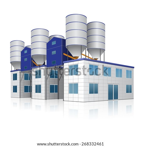 factory building for the production of concrete with reflection on white background - stock vector